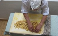 Preparation of an Apple Strudel in Cafe Hacker in Rattenberg in Alpbachtal